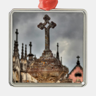 Friedhofsquernahaufnahme, Portugal Quadratisches Silberfarbenes Ornament