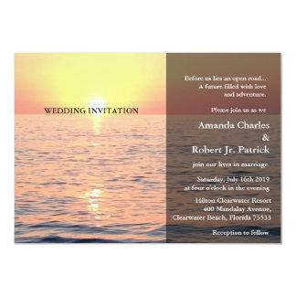Friedliche elegante Strand-Sonnenuntergang-Hochzei Einladung