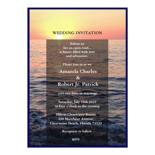 Friedliche elegante Strand-Sonnenuntergang-Hochzei Individuelle Ankündigskarten