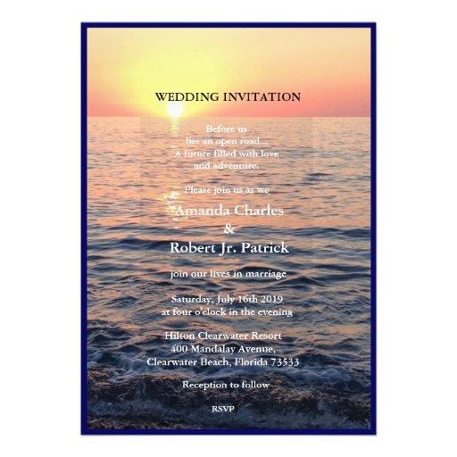 Friedliche elegante Strand-Sonnenuntergang-Hochzei Individuelle Einladungen