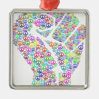 Friedliche Revolution Quadratisches Silberfarbenes Ornament