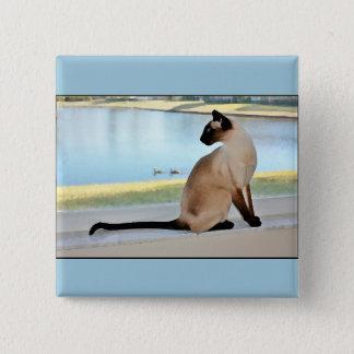 Friedliche siamesische Katzen-Malerei Quadratischer Button 5,1 Cm