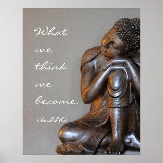 Friedliche stillstehende silberne Buddha-Wörter Poster