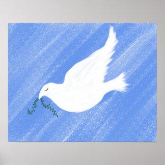 Friedliche Tauben-Illustration Poster