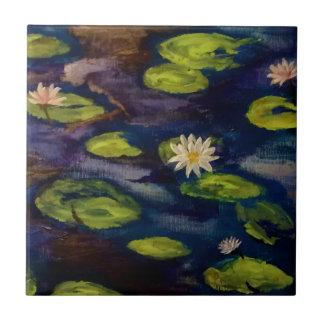 Friedliche Wasser-Lilien Kleine Quadratische Fliese
