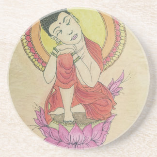 Friedlicher Buddha Getränkeuntersetzer