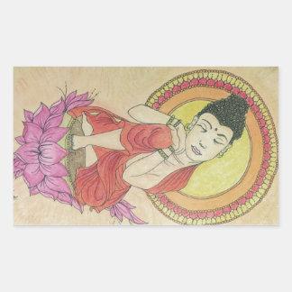 Friedlicher Buddha Rechteckiger Aufkleber