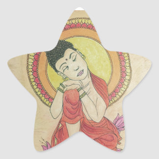 Friedlicher Buddha Stern-Aufkleber