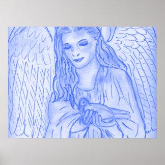 Friedlicher Engel im Blau Poster