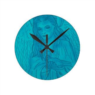 Friedlicher Engel im Blau Runde Wanduhr