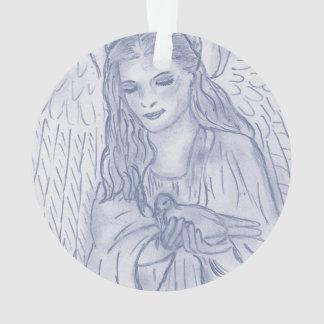 Friedlicher Engel im düsteren Blau Ornament