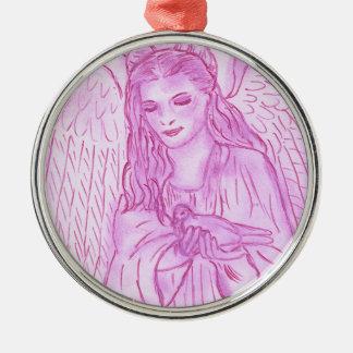 Friedlicher Engel im Rosa Silbernes Ornament