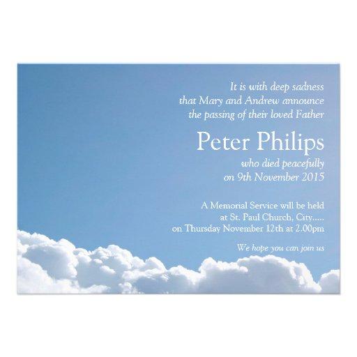 Friedlicher Himmel 2 + Gedicht - Begräbnis- Einladungen