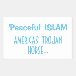FRIEDLICHER ISLAM - AMERIKAS TROJAN HORSE RECHTECKIGER AUFKLEBER