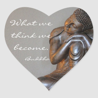 Friedlicher silberner Buddha Herz-Aufkleber