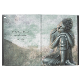 Friedlicher silberner Buddha mit inspirational