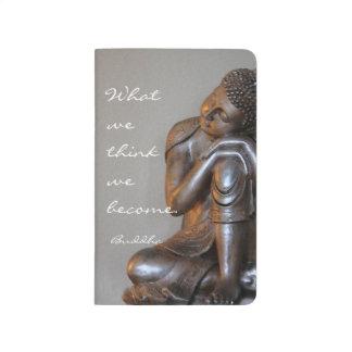 Friedlicher silberner Buddha mit inspirational Taschennotizbuch