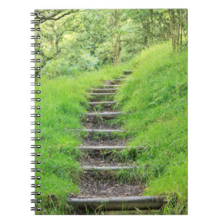 Friedlicher Waldweg mit grünem Gras Spiral Notizblock