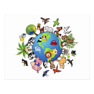 Friedliches Tierkönigreich - Tiere um die Welt Postkarte