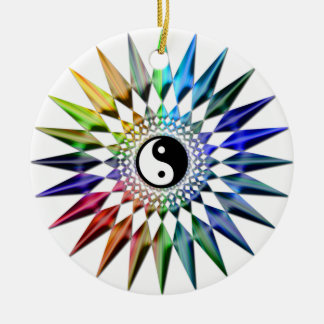Friedliches Yin Yang Zen-Yoga-bunte Meditation Tao Keramik Ornament