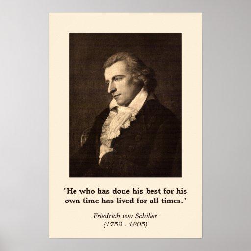 Friedrich Schiller - Zitat auf dem Handeln Ihres B Plakatdruck