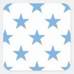 Friedvolles Blau des Stern-1 Quadratsticker