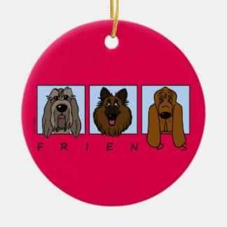 Friends: Spinone Italiano, Tervueren, Bloodhound Keramik Ornament