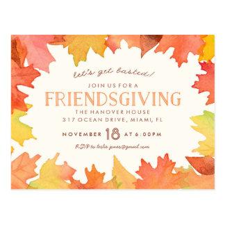 Friendsgiving Aquarell-Einladungs-Postkarte Postkarte