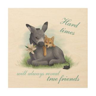 Friendship Shiba & Donkey - Kunstdruck Holzleinwand