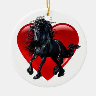 Friesisches Pferd, schwarzer Stallion, schwarzes Keramik Ornament