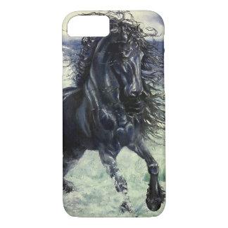 Friesisches, schwarzes Schönheit Stallionspferd, iPhone 8/7 Hülle