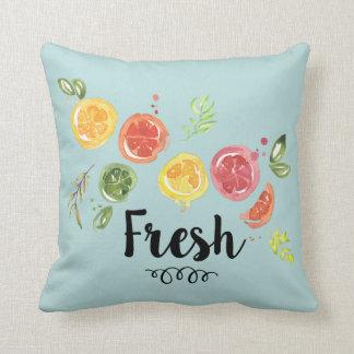 Frisch - Zitrusfrüchte im Aquarell Kissen