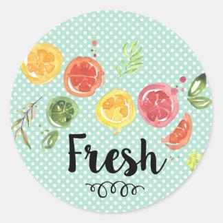 Frisch - Zitrusfrüchte im Aquarell Runder Aufkleber
