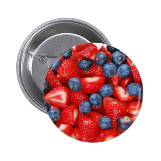 Frische Blaubeeren und Erdbeeren Runder Button 5,7 Cm