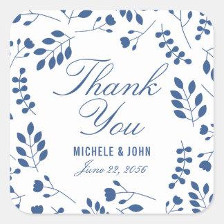 Frische blaue weiße botanische danken Ihnen, Quadratischer Aufkleber