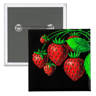 Frische Erdbeeren Quadratischer Button 5,1 Cm