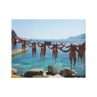 Frische Fang-Krake in Oia, Santorini, Griechenland Leinwanddruck