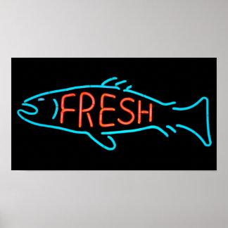 Frische Fisch-Leuchtreklame Poster