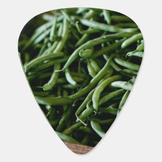 Frische französische grüne Bohnen nach Ernte Plektrum