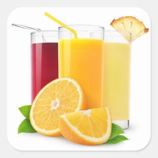 Frische Fruchtsäfte Quadratischer Aufkleber