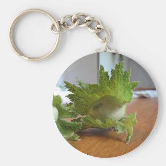 Frische grüne Haselnüsse auf einer hölzernen Schlüsselanhänger