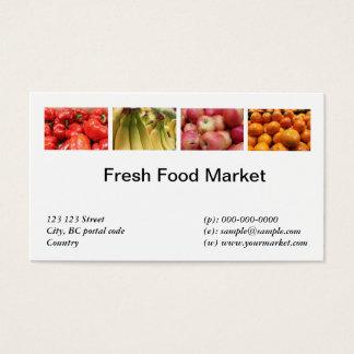 Frische Nahrung, Früchte, Gemüsemarkt Visitenkarte