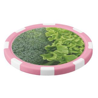Frische Nahrungsmittelkopfsalat und -brokkoli Pokerchips