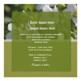 frische weiße Garten-Blumen, die Party wedding Quadratische 13,3 Cm Einladungskarte