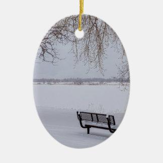 Frischer gefallener Schnee Keramik Ornament