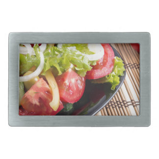 Frischer natürlicher Salat der Nahaufnahmeansicht Rechteckige Gürtelschnalle