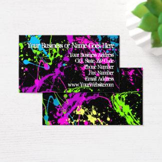 Frischer Retro Neonfarben-Spritzer auf schwarzem Visitenkarte