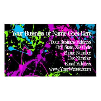 Frischer Retro Neonfarben-Spritzer auf Schwarzem Visitenkarten