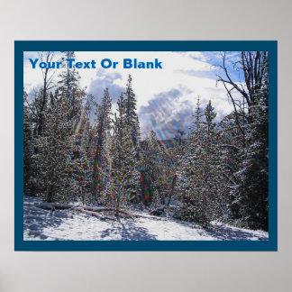 Frischer Schnee auf schnellem Blitz Poster