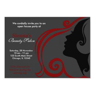 Friseur (dunkelrot) 12,7 x 17,8 cm einladungskarte